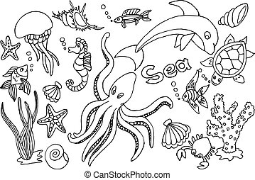 Hand draw set of different marina creatures: fish, seahorse,...