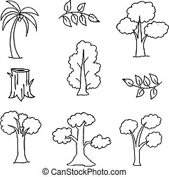 Hand draw set of tree doodles