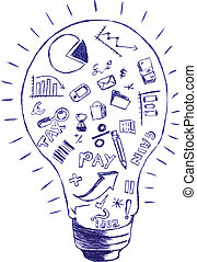 hand draw sketch, Accounting & Finance Symbol at Bulb