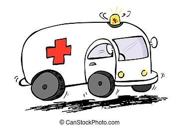 Hand draw sketch, ambulance at white