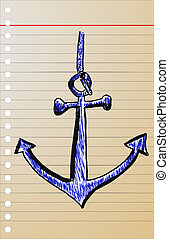 hand draw sketch, anchor