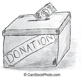 hand draw sketch, Donation Box at white