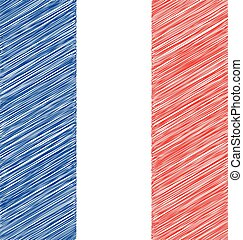 Hand Draw Sketch Flag of France