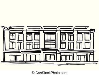 Hand Draw Sketch of School Building