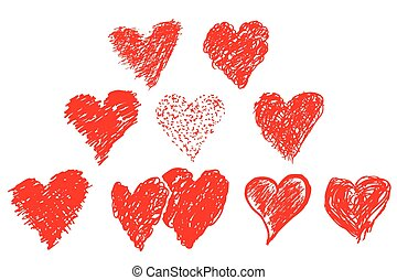 hand draw sketch, set of love