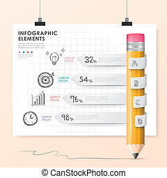 vector pencil bar chart infographic elements