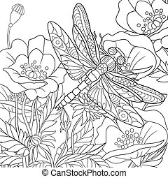 Hand drawn stylized cartoon dragonfly insect is flying around poppy flowers. Sketch for adult antistress coloring book pages, T-shirt emblem, logo or tattoo with design elements.