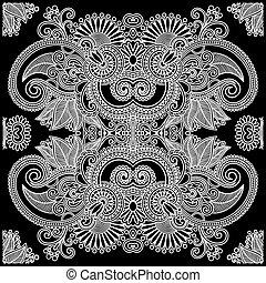 Traditional Ornamental Floral Paisley Bandana - Hand Draw...