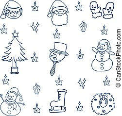 Hand draw vector set christmas of doodle