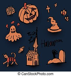 Hand Draw Vector Set of Halloween Design Elements