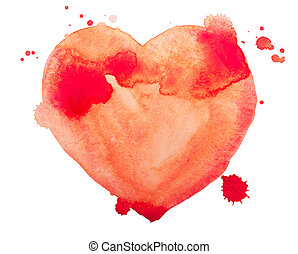 Hand draw watercolor aquarelle art paint love red heart.