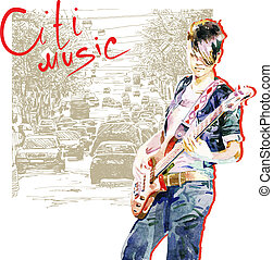 teenager girl playing guitar in city background - hand draw...