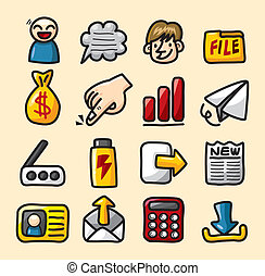 hand draw web icons collection