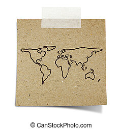 hand draw world map on note taped recycle paper