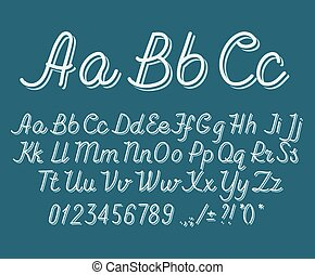 Hand drawin alphabet handwritting abc vector font. Italic type letters, numbers and punctuation marks.