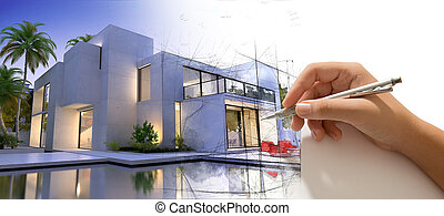 Hand drawing a luxurious house with pool