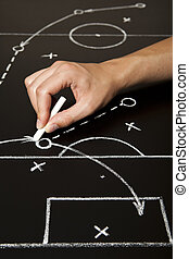 Hand drawing a soccer game strategy with white chalk on a blackboard.