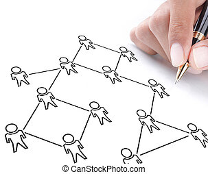 hand drawing a social network scheme on a whiteboard