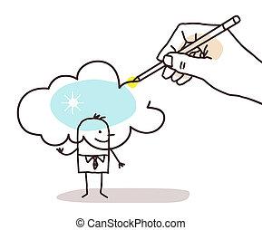 Hand Drawing a Sunny Cloud on a Cartoon man