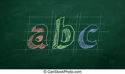 "Hand drawing ""abc"" on green chalkboard. Stop motion animation."