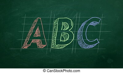 "Hand drawing ""ABC"" on green chalkboard"