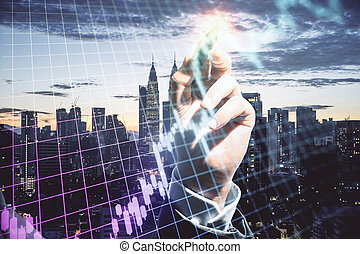Hand drawing abstract forex charts hologram