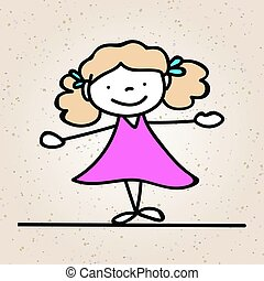 hand drawing abstract happy cute girl line art