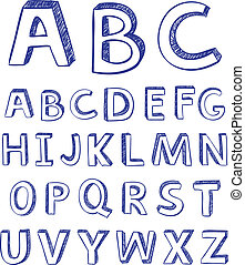 Hand drawing alphabet. vector for design