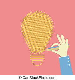 idea bulb - hand drawing an idea bulb