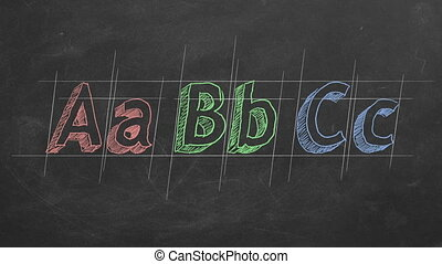 "Hand drawing and animated ""ABC"" on blackboard"