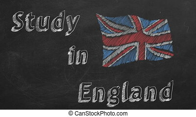 Study in England - Hand drawing and animated british flag ...