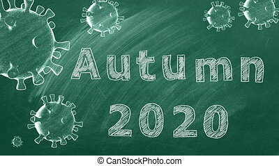 Hand drawing and animated text Autumn 2020 and coronavirus cells on green chalkboard.  Covid-19 concept. New normal concept.