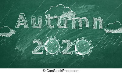 """Hand drawing and animated text """"Autumn 2020"""" on green chalkboard.  Covid-19 concept. New normal concept."""