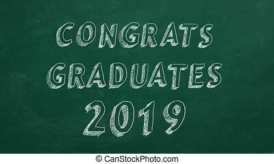 Congrats graduates. 2019 - Hand drawing and animated text...