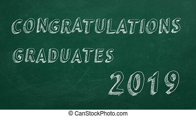 Congratulations graduates. 2019. - Hand drawing and animated...