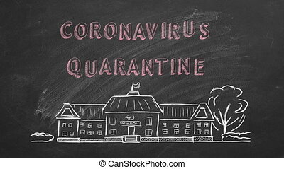 Hand drawing and animated text Coronavirus quarantine  on blackboard
