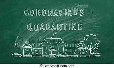 Hand drawing and animated text Coronavirus quarantine on green chalkboard.