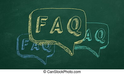 "FAQ - Hand drawing and animated text ""FAQ"" on green..."