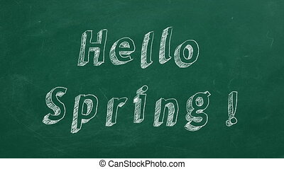 """Hand drawing and animated text """"Hello Spring!"""" on green chalkboard. Stop motion animation."""