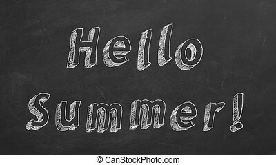 """Hand drawing and animated text """"Hello Summer!"""" on blackboard. Stop motion animation."""