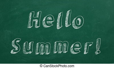 """Hand drawing and animated text """"Hello Summer!"""" on green chalkboard. Stop motion animation."""