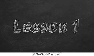 "Lesson 1 - Hand drawing and animated text ""Lesson 1"" on..."