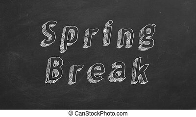"Spring Break - Hand drawing and animated text ""Spring Break..."