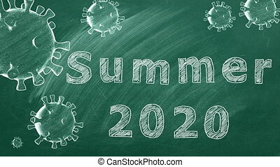 """Hand drawing and animated text """"Summer 2020"""" on green chalkboard.  Covid-19 concept."""