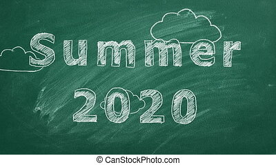 """Hand drawing and animated text """"Summer 2020"""" on green chalkboard."""