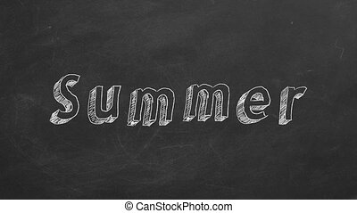 "Summer - Hand drawing and animated text ""Summer"" on..."