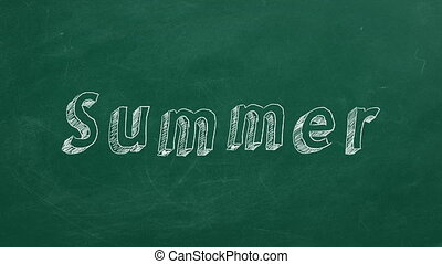 "Summer - Hand drawing and animated text ""Summer"" on green..."