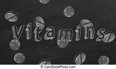 "Vitamins - Hand drawing and animated text ""Vitamins"" and ..."