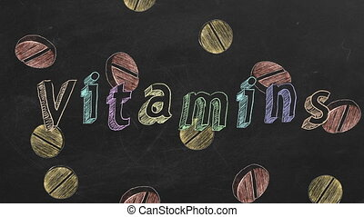 "Vitamins - Hand drawing and animated text ""Vitamins"" and..."
