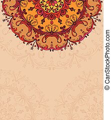 Hand drawing background with lace ornament